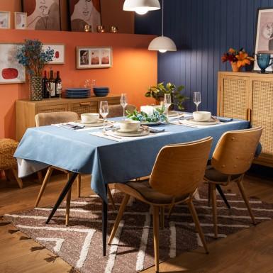 Cotton Tablecloth - Basic Blue